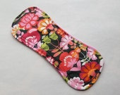 """Ready to Ship 6.5"""" Wingless Cloth Liner, Woven Cotton Top, Flannel Back, Retro Floral"""