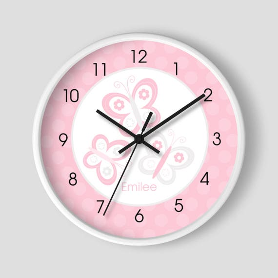Butterfly Pink and Gray 10-inch Wall Clock / White Frame / Girls ...