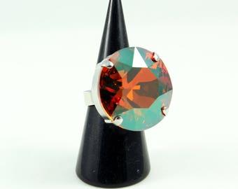 "Swarovski Crystal ring ""crystal chili pepper"", round cabochon, adjustable ring"