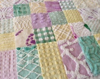 Vintage Chenille Fabric Quilt Squares - 30 - 6 inch squares lavender, green & yellow - all different - 500-198