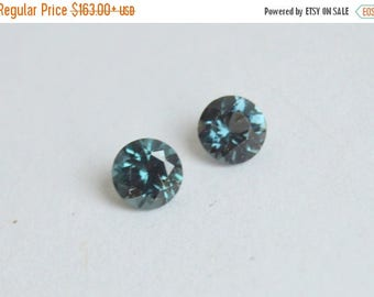 SALE Spinel Pair, Blue Spinel, Tunduru Spinel, Tanzanian Spinel, 5mm Spinel Round, Spinel for Earrings, Blue-Grey Spinel Pair