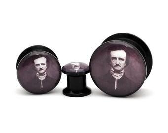 Black Acrylic Edgar Allen Poe Picture Plugs gauges - 8g, 6g, 4g, 2g, 0g, 00g, 7/16, 1/2, 9/16, 5/8, 3/4, 7/8, 1 inch