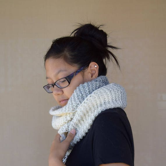 Knit cowl infinity scarf light gray white tones multicolor gift for her girls scarf gift for friend wool acrylic warm scarf girlfriend gift