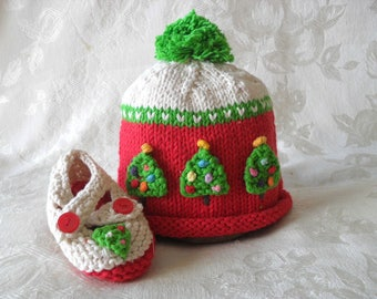 Knitted Christmas Tree Baby Hat and Matching Booties Set Lace cloche Ivory Baby Beanie Knitting Newborn Baby Hat Children Clothing
