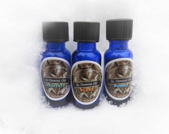 St.Dominic Essential Oil Blends, 100% Pure Essential Oils, Meditate, Bless, Purify, Lavender Oil, Lemongrass, Frankincense,10ml Glass Bottle