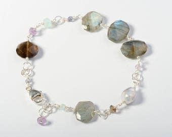 Gemstone Jewelry, Silver Gemstone Jewelry, Silver Gemstone Bracelet, Labradorite Jewelry, Labradorite Bracelet, Silver Bracelet, Labradorite