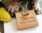 baxter and duk duk's double sided text leather dachshund jumbo binder clip