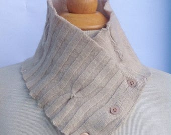 SALE Handmade neutral beige tan warm cable wool scarflette neck warmer with button details. Upcycled. Felted wool. Winter wear.