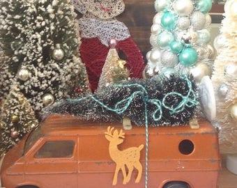 SALE Vintage orange Christmas van with Christmas tree. Mantle decor. Holiday decoration. Kitschy.
