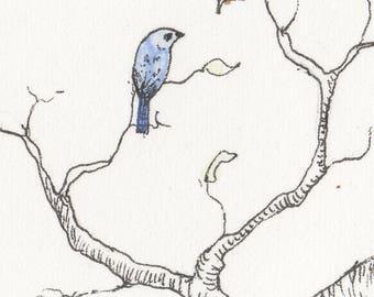 Little bird - Original ink/watercolour ACEO