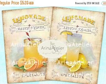 SALE - 30%OFF - Shabby Chic Lemonade - Large Images - Backgrounds - 5x7 inch - Digital Print - Ephemera Sheet - Tote, Bags, t-shirts Downloa
