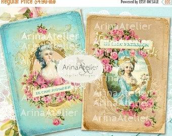 SALE 30%OFF - CARDS Marie Antoinette - 5x7 inch - digital collage cards - printables collage - digital collage sheet - vintage tags - vintag