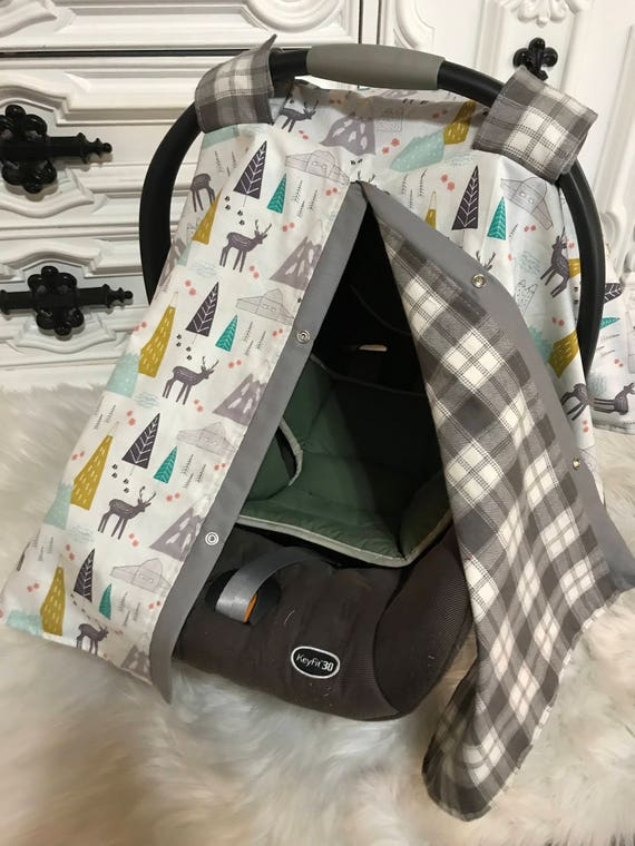Woodland and Plaid car seat canopy , ready to ship