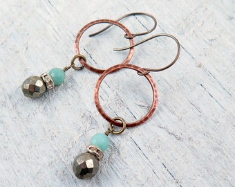 Amazonite Earrings, Hoop Earrings, Dangle Earrings, Pyrite Earrings, Beaded Jewelry, Boho Earrings