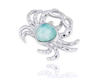 Silver Crab pendant with Hand carved Larimar stone
