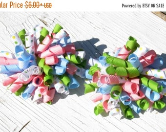 Solar Eclipse Sale Girl Spring Pastel Corker Bows- Set of 2- Baby Bows- Toddler Bows- Pigtail Bows
