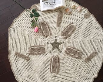 Only made to order this beautiful  sand dollars rug , crochet sand dollar rug, handmade sand dollars rug,