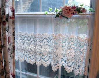Lace and Netting Curtain Valance, Lacy Curtain, Shabby French Decor, Lacy Window Treatment, by mailordervintage on etsy