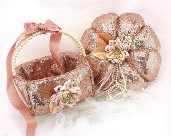 Ring Bearer Pillow Flower Girl Basket Wedding Set Rose Gold Sequin,Ready To ship