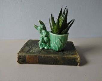 Vintage green Scottie dog pottery planter Small dog planter