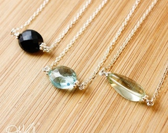 ON SALE Minimalist Gemstone Necklace - Green Amethyst, Aqua Quartz, Black Onyx - Sterling Silver, Choose Your Stone