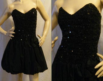 Vtg 1980s 90s Strapless black dress with Sequins and Bubble hem skirt Small