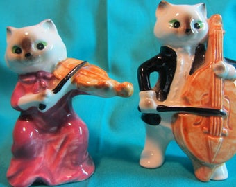 Vintage Lego Fine China Cat and Insturments Figurines, Collectible Set Cat Figurines, Cat Playing Violin & Cat Playing Cello, China Statues