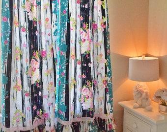 Lavish Navy Floral Curtain Panels, Little Girls Curtains, Room Makeovers,  Nursery Design,