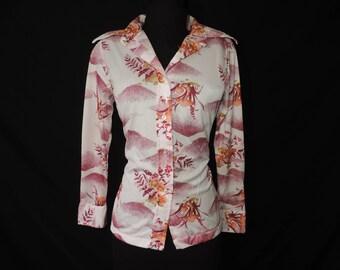 pink mushroom disco blouse 1970s trippy hippie butterfly collar button down shirt medium