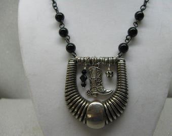 Belt Buckle Necklace Embellished With Black