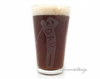 Dad Golfer Pint Glass Gift for Golfer Christmas Gift for Dad Likes to Golf 16 oz Golfer Fathers Day Kick Putt Gift Dad Fore My Dad Gift