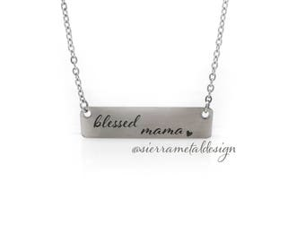 Blessed Mama Necklace Best Mom Ever Gift From Kids Mom Life Good Life Mothers Day Best Kids Ever Birthday Jewlery Accessory