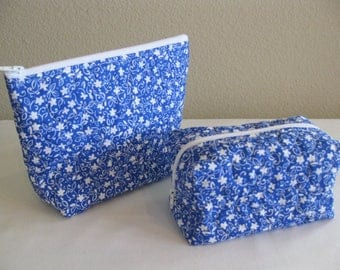 Blue and White Quilted Pouch Set