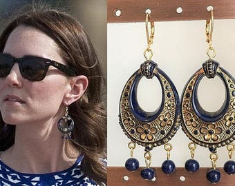 Kate Middleton Blue Gold Flower Chandelier Bead Earrings