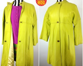 Super Cool Vintage 90s Chartreuse Bright Green Leather Long Jacket