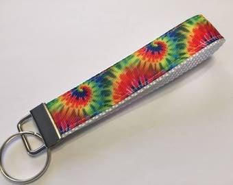 Rainbow Tie Dye Hippie Key Fob Keychain wristlet