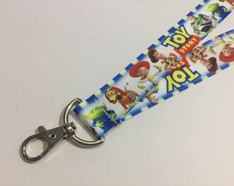 Inspired by Toy Story with Woody and Buzz Lightyear ID Lanyard with Lobster Claw Clasp