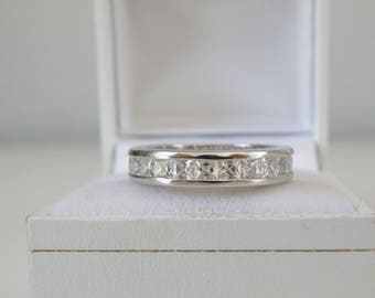 Estate Sterling Silver 925 Diamond Like Cubic Zirconia Channel Set Eternity Wedding Band Ring Size 8