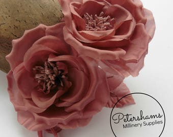 Silk 'Fiona' Double Rose Millinery Fascinator Flower Hat Mount - Dusky Pink