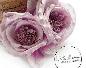 Silk 'Fiona' Double Rose Millinery Fascinator Flower Hat Mount - Heather Ombre