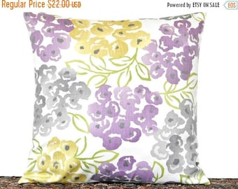 Christmas in July Sale Lilac Floral Pillow Cover Cushion Mustard Gray Green Modern Designer Decorative 16x16