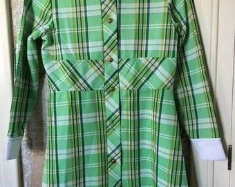 Girls polyester vintage plaid mod dress size 8