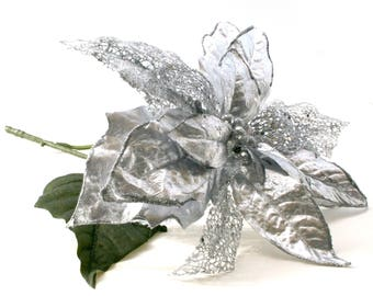 Jumbo Silver Poinsettia - Artificial Flowers, Holiday Flowers, Christmas Floral