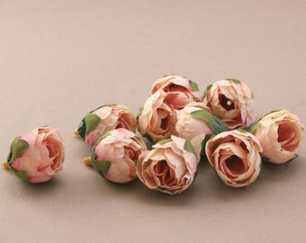 10 Peachy Pink Tea Roses - Artificial Flowers, Silk Roses, Small Flowers