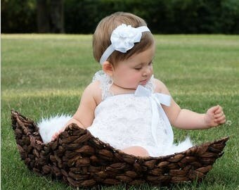 new Girl child baby lace romper bodysuit  3-9 months picture summer prop outfit
