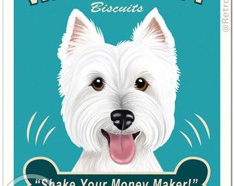 "11x14 Westie Art - Wigglebutt Biscuits - ""Shake Your Money Maker"" -  Art print by Krista Brooks"