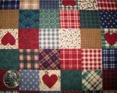100 per cent  Cotton Fabric BTY 45 inch Jeweltone Patchwork with Hearts  FREE SHIPPING
