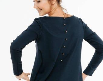 SALE - Blue top   Loose blouse   Back button blouse   LeMuse blue top