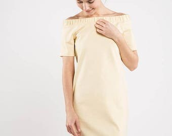 SALE - Strapless dress | Light yellow dress | Pale yellow dress | LeMuse strapless dress