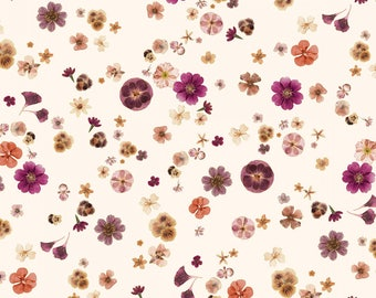 Kanvas by Benartex - Floral Impressions - Pressed Flowers - Cream w/ Metallic Gold - Fabric by the Yard 8678MB-07